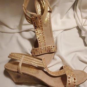 New York Transit Wedge Metallic Sandals